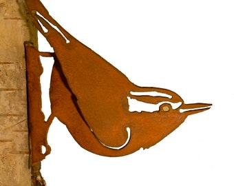 Nuthatch Steel Silhouette with Rusty Patina
