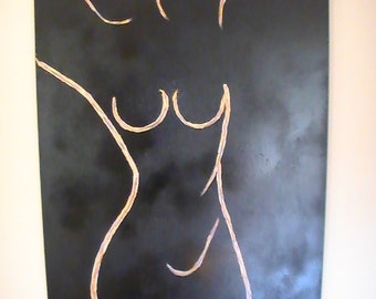 Female abstract form on canvas