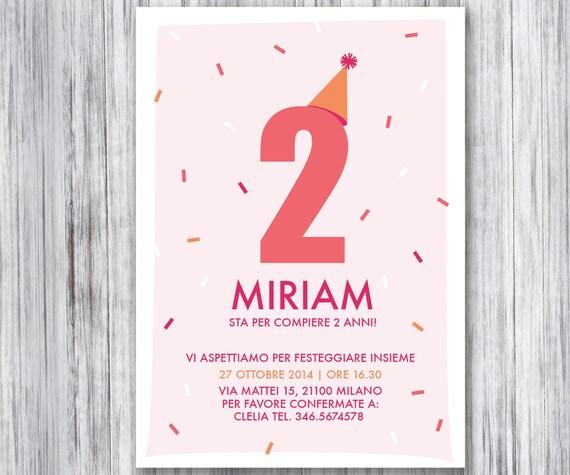 Estremamente Invito stampabile per festa di compleanno bambina coriandoli UR23