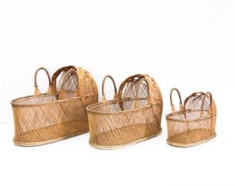 Set of 3 Wicker Doll Cribs