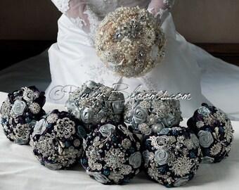Rustic Wedding Brooch Bouquet Package. Rustic Wedding Bouquets Package, 25 Piece Wedding Collection. Bridal Wedding bouquets Package