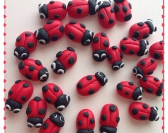Fondant Ladybug, fondant cupcake toppers, cake toppers, edible party favor