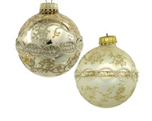 Krebs Gold 'n Glitter Lace and Braid Victorian Christmas Ornaments