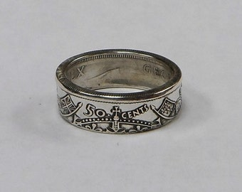 Coin Ring made from Canadian silver half dollar size 7-13