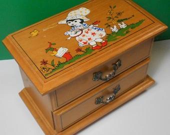 Small Wood Musical Jewelry Box