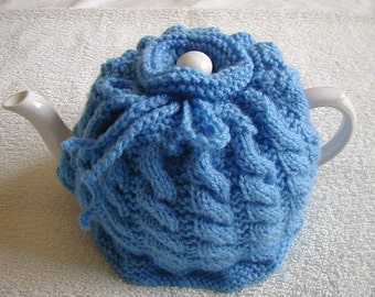Handmade Knitted Tea Cosy In DK Colour Blue