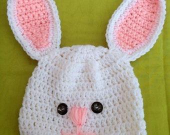 Easter Bunny Hat - Crochet Bunny Rabbit Hat -  Kids Gift - Baby Gift