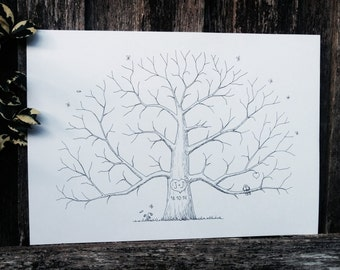 Custom Wedding Fingerprint Tree, Alternative Wedding Guestbook, Personalized Thumbprint Tree, Hand Drawn Tree, Family Tree, Parent gift