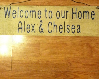 Personalized welcome to the home  w/ hearts & names also  available with stars