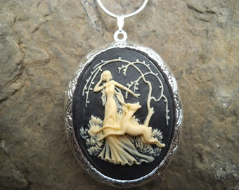 "LOCKET--Stunning Goddess Diana with Deer (cream on black) Pendant Locket--- Huntress  2"" long---.925 plated 22"" Chain--- Great Quality"