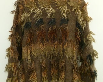 Amazing Vintage Avant-Garde Ombre Wool Fringe  Mariea Kim Shaggy Wool  Blend Pull Over Sweater 80's