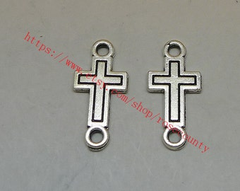 wholesale 100pcs 24x12mm Tibetan Silver CROSS charms  connector findings