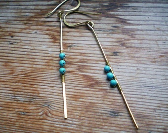 Turquoise earrings // brass earrings // turquoise jewelry // turquoise accessories
