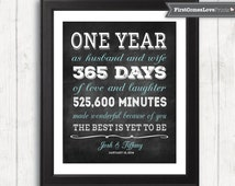 1 Year Wedding Anniversary Present For Husband : Chalkboard Style First Anniversary Gift for Husband for Wife ...