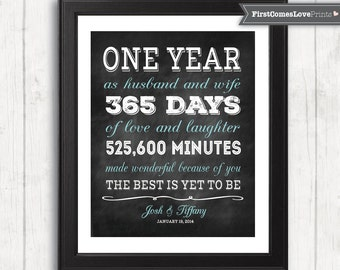 Chalkboard Style First Anniversary Gift for Husband for Wife Personalized Art Print Any Colors 1st anniversary Gift for Him for Her Paper