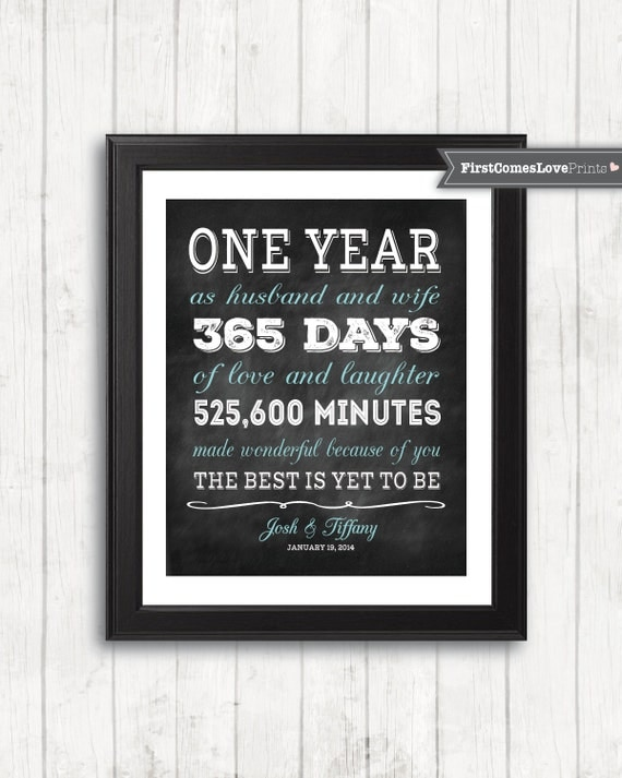 Chalkboard style first anniversary gift for husband for wife for First gift for boyfriend birthday