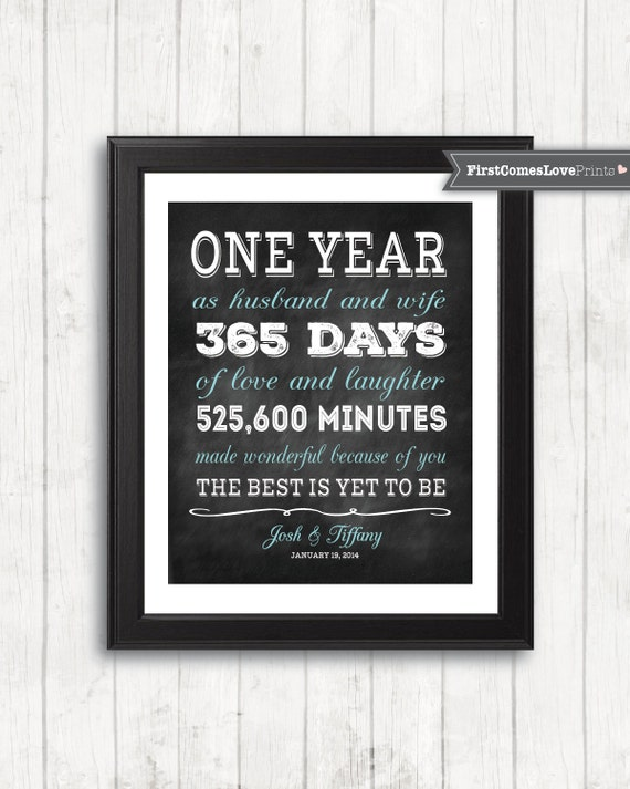 Chalkboard style first anniversary gift for husband wife