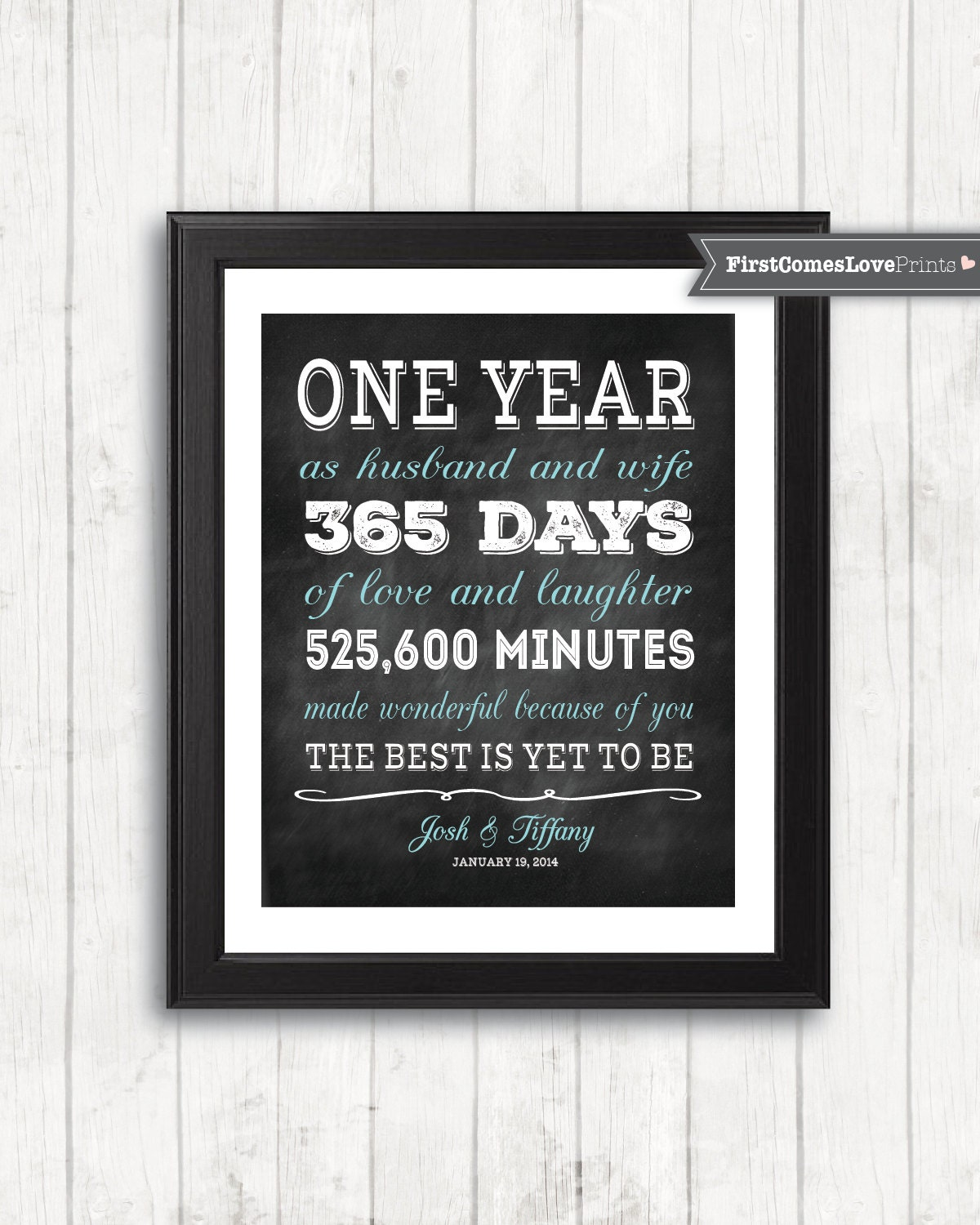 Chalkboard style first anniversary gift for husband for wife for 1st year wedding anniversary gift