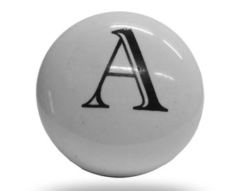 Ceramic Letter A Furniture Fixture, Traditional Black and White Alphabet Knob, Unique Initial Drawer Handle or Cabinet Pull, Monogram Knob