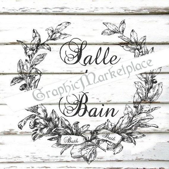 Salle de bain bath bathtub bathroom instant download french for Salle de bain in french