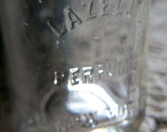 BIM Late 1800's American Perfume Bottle Embossed Bottle w/ Ground Ball Stopper by Lazell's Perfumers