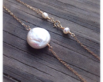 Gold filled coin pearl necklace