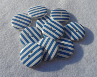10 Round Wooden buttons with Striped White and Blue 24,5mm