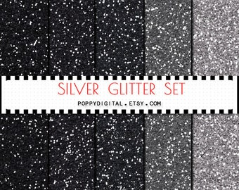Silver Glitter Digital Paper Background {Texture Pattern Overlay} for scrapbooking - Instant Download
