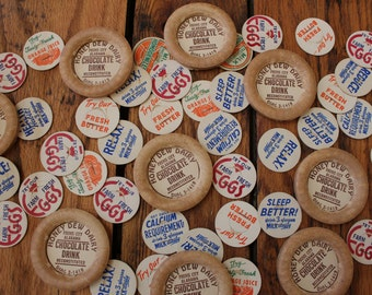 10 Vintage Milk Caps,farm,eggs,coffee,butter,chocolate drink,country kitchen,farmhouse,vintage home decor,repurposed,craft,magnet,dairy