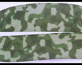 """Green Camouflage Printed Grosgrain Ribbon 7/8"""" Wide Scrapbooking HairBows Parties DIY Projects az387"""