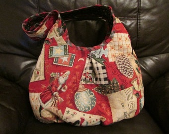 ON SALE!  Red Christmas Cotton Tote Runaround Bag Magnetic Snap Closure