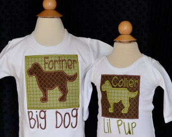 Personalized Big Little Brother Dog Big Little Sister Pup Initial Applique Shirt or Onesie Girl or Boy