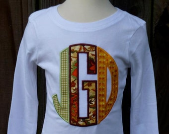 Personalized Circle Monogram Applique Shirt or Onesie for Boy or Girl