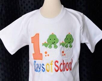 100 Days of School Dinosaurs Applique Shirt or Onesie Boy or Girl