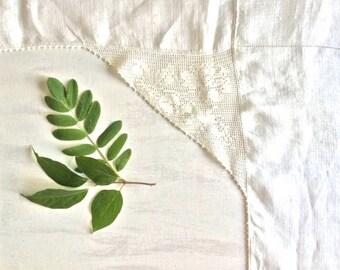 Vintage White Linen Cross Shape Table Runner