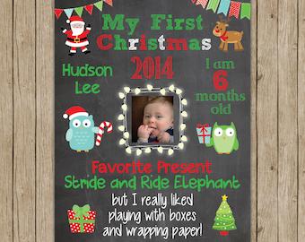 Custom Baby's First Christmas Chalkboard Print
