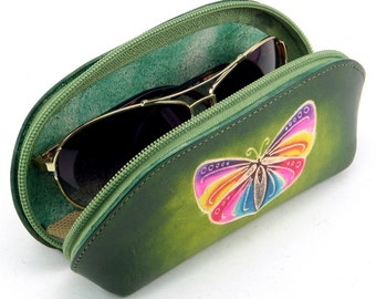 Sunglass Case /  Leather Sunglass Case /  Sunglasses Accessories /  Butterfly Design / Butterflies / Leather Case / Cosmetic Case