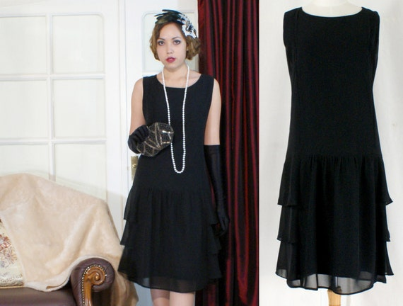 Stylish Flapper Costume In Black With Tiered Skirt Great