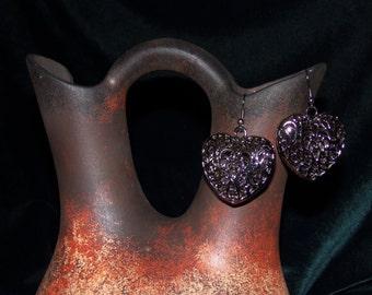 Gunmetal Filigree Heart Earrings #0113