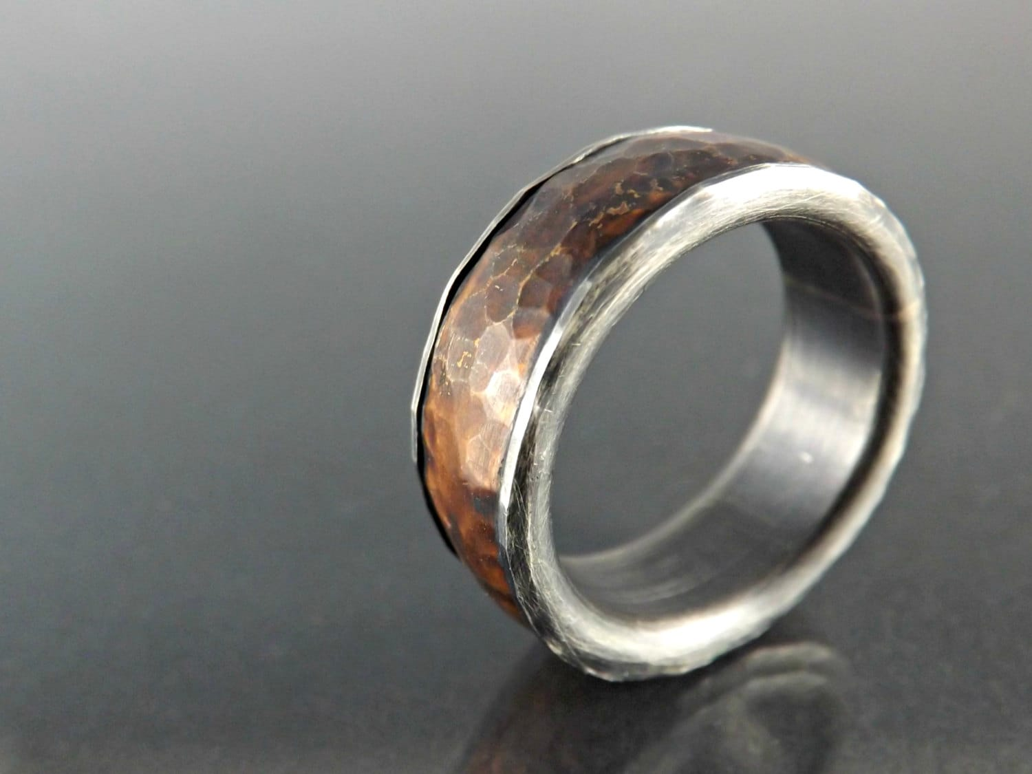 Forged silver copper ring mens wedding band hammered by for Mens copper wedding rings
