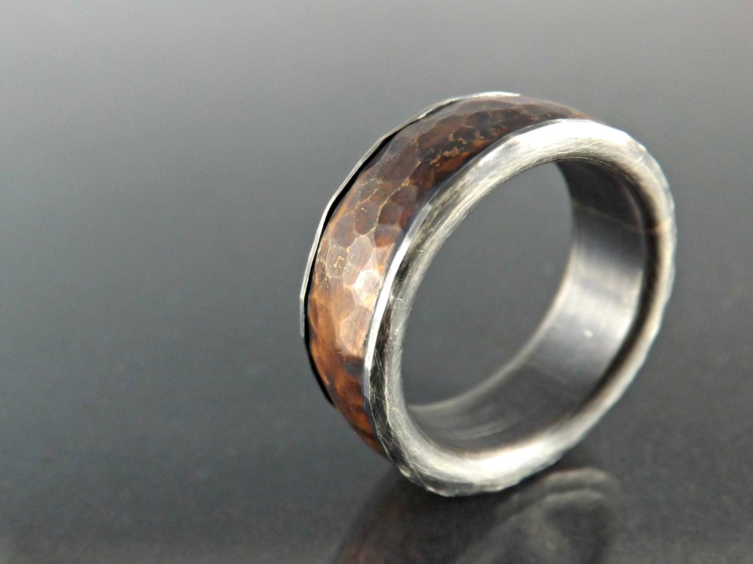Mens Copper Wedding Rings Forged Silver Copper Ring Mens Wedding Band Hammered By
