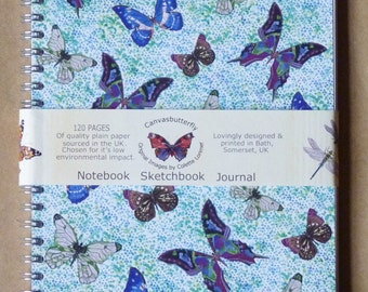 Butterfly Notebook, Butterfly Sketchbook, Butterfly Journal - A 5 Spiral Bound- 120 Quality pages, co ordinating inside front & back covers