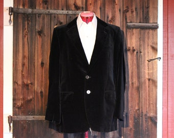 Vintage - 80s Black Velvet Mens Coat Jacket Suit Blazer