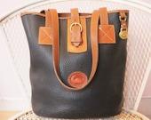 Vintage Dooney And Bourke All Weather Leather Blue And British Tan Large Tote Shoulder Bag