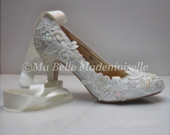 Ivory Lace Satin Ankle Tie Wedding Shoe's