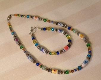 Flower Garden Necklace and Bracelet