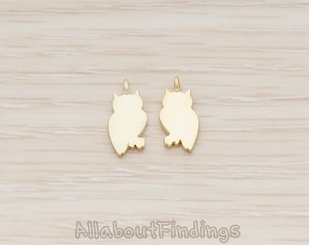 PDT1161-MG // Matte Gold Plated Owl Silhouette Pendant, 2 Pc