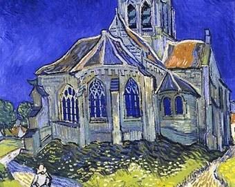 Vince Van Gogh's The church in Auveres Sur Oise, antique art prints,  post impressionist art, canvas art print, fine art, antique art