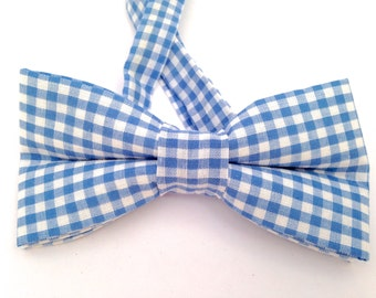 Blue gingham bow tie, Pink gingham Bow Tie, Yellow gingham Tie, Orange gingham Tie, blue gingham tie, blue checker bow tie, blue necktie,
