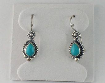 Turquoise Tear Drop Earrings, Sterling Silver, Bridemaids Gift, Everyday Wear, Gemstone Dangle, Dangle Earrings, Turquoise Drop Earrings